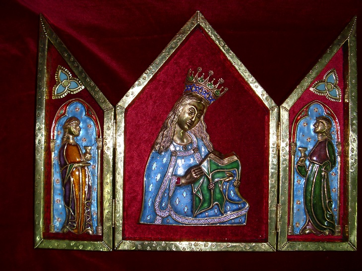 Tríptico Virgen con ángeles